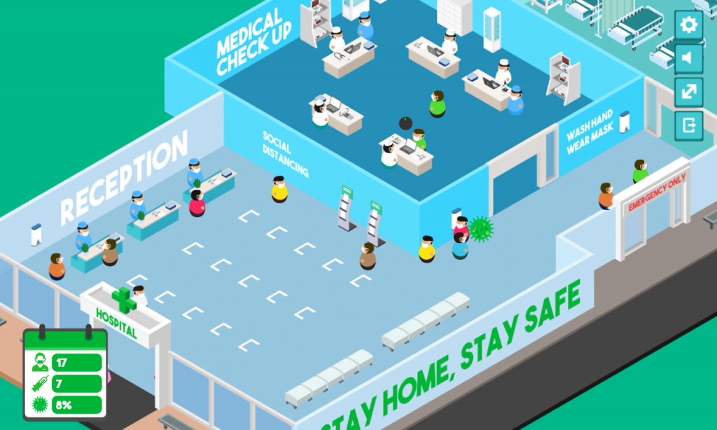 playing video games: fight virus simulation game